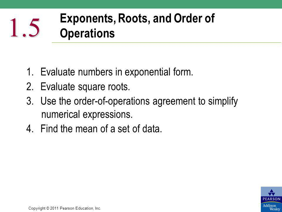 Exponents, Roots, and Order of Operations
