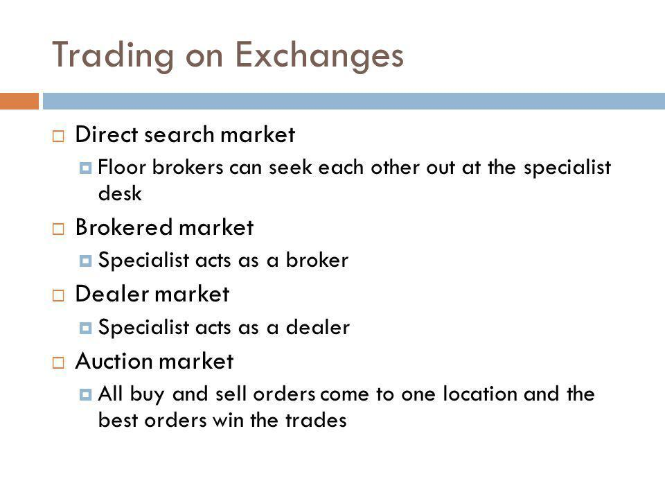 Trading on Exchanges Direct search market Brokered market