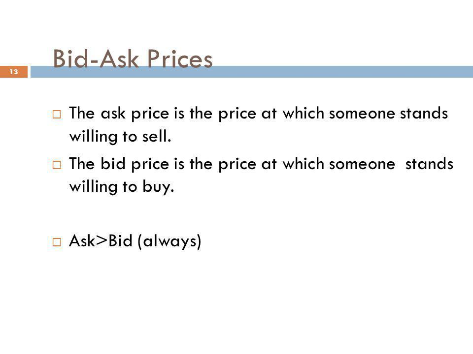 Bid-Ask Prices The ask price is the price at which someone stands willing to sell.