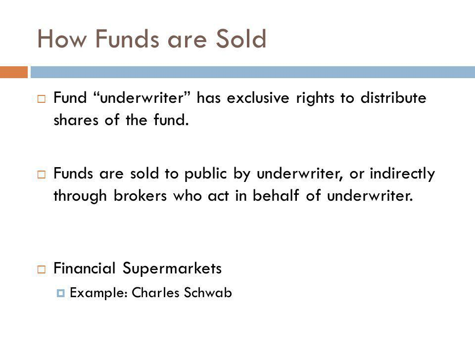 How Funds are Sold Fund underwriter has exclusive rights to distribute shares of the fund.
