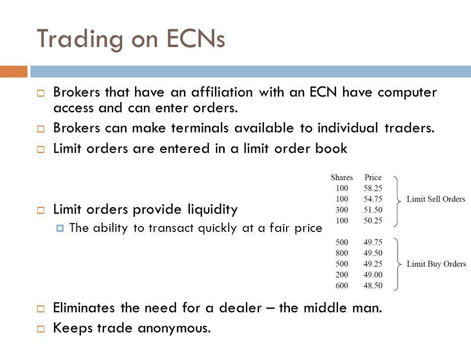 Trading on ECNs Brokers that have an affiliation with an ECN have computer access and can enter orders.