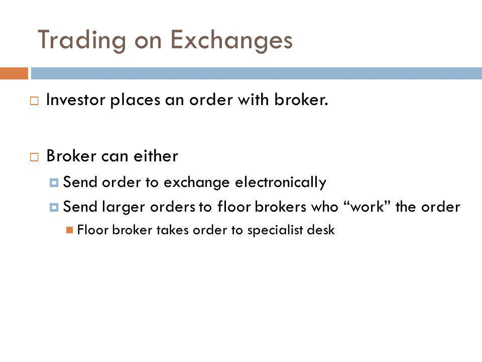 Trading on Exchanges Investor places an order with broker.