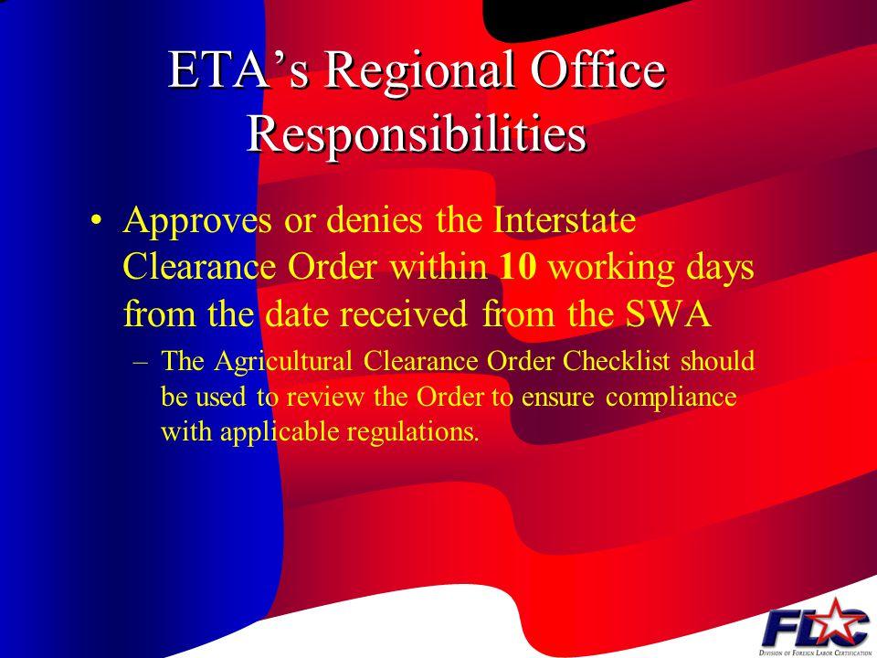 ETA's Regional Office Responsibilities