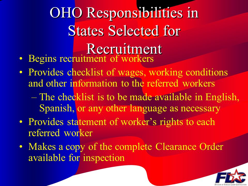 OHO Responsibilities in States Selected for Recruitment