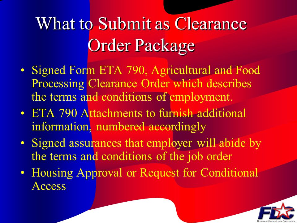 What to Submit as Clearance Order Package