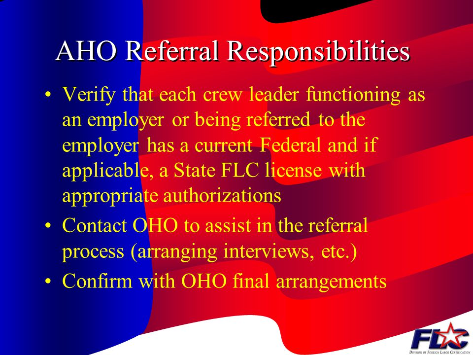 AHO Referral Responsibilities