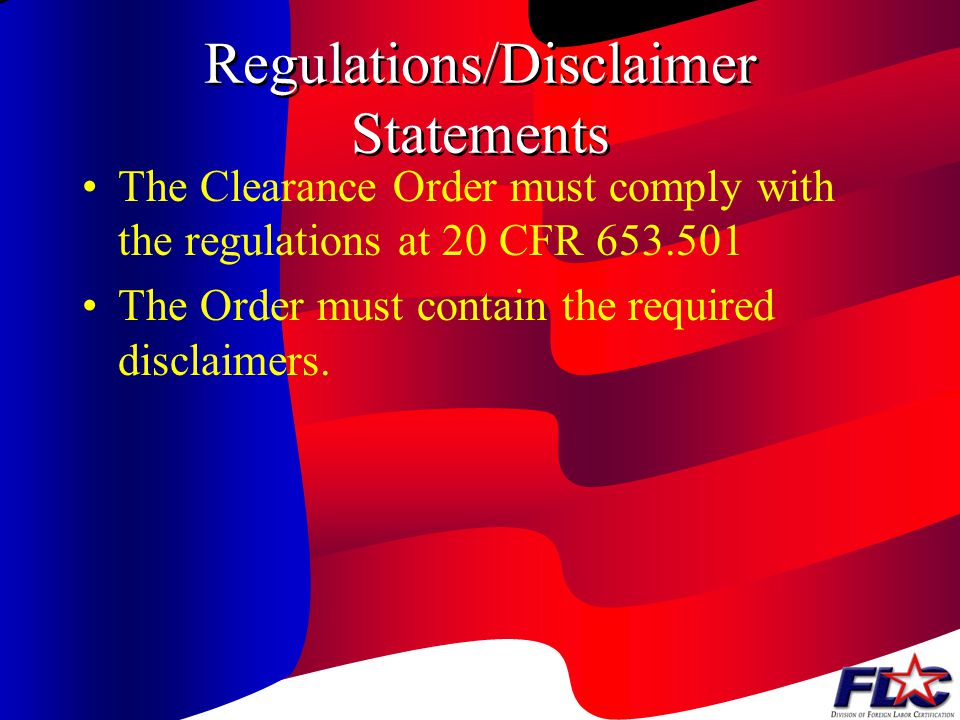 Regulations/Disclaimer Statements