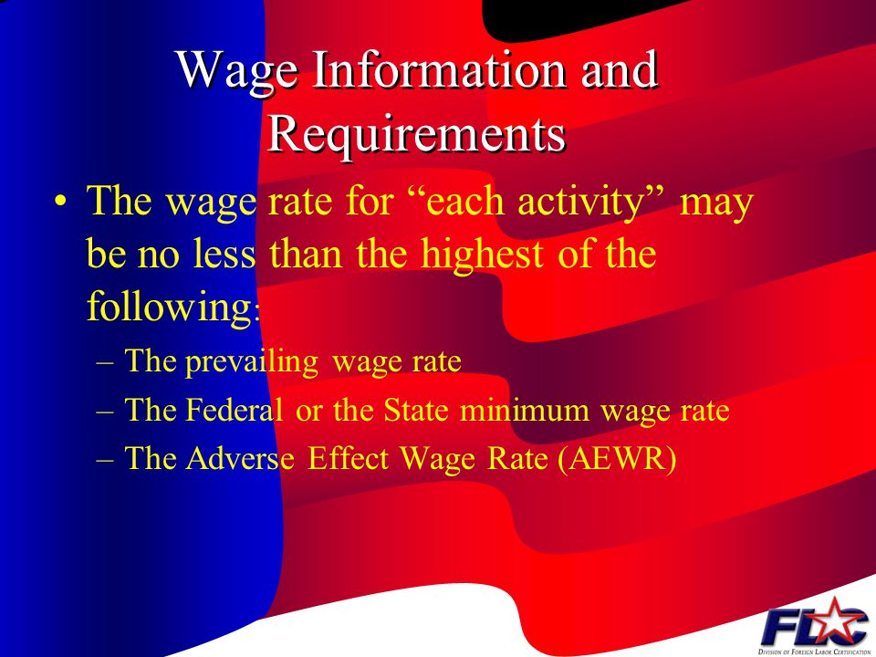 Wage Information and Requirements