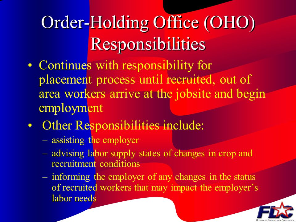Order-Holding Office (OHO) Responsibilities