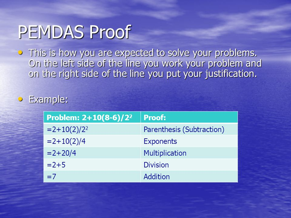 PEMDAS Proof