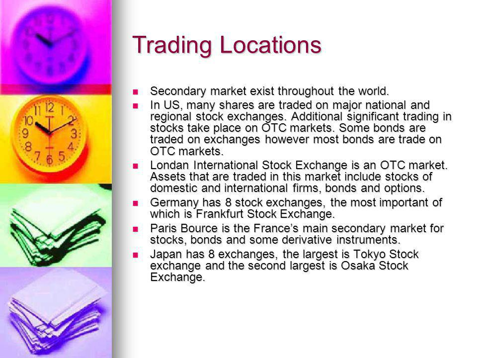 Trading Locations Secondary market exist throughout the world.