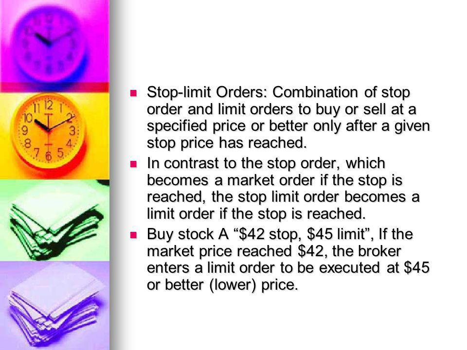Stop-limit Orders: Combination of stop order and limit orders to buy or sell at a specified price or better only after a given stop price has reached.