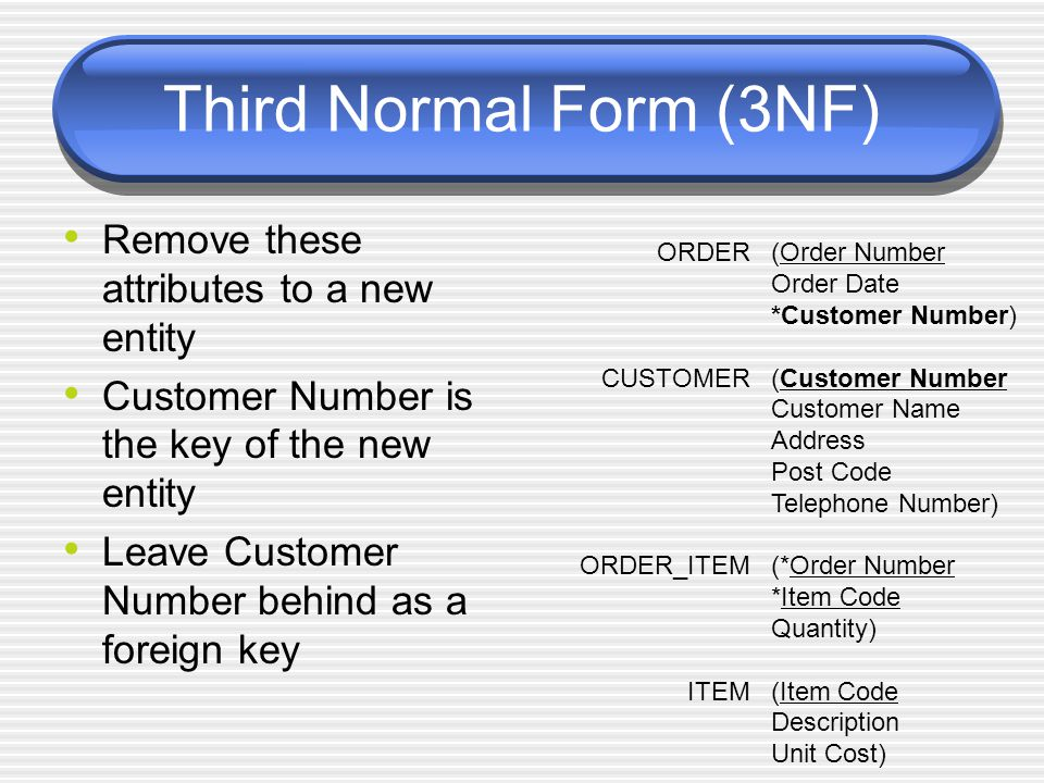 Third Normal Form (3NF) Remove these attributes to a new entity