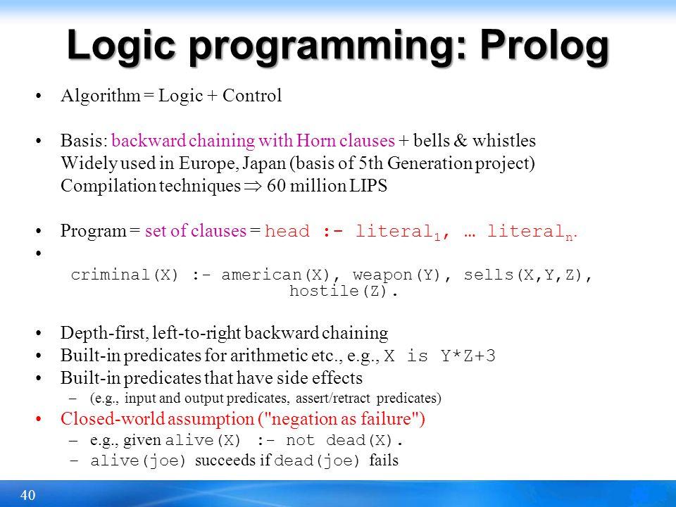 Logic programming: Prolog