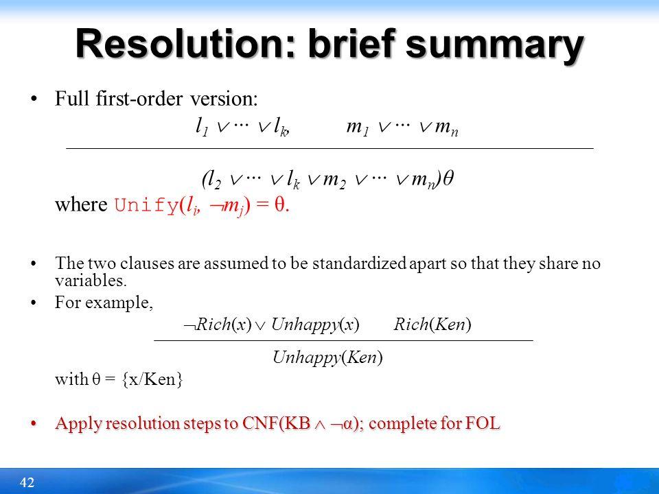 Resolution: brief summary