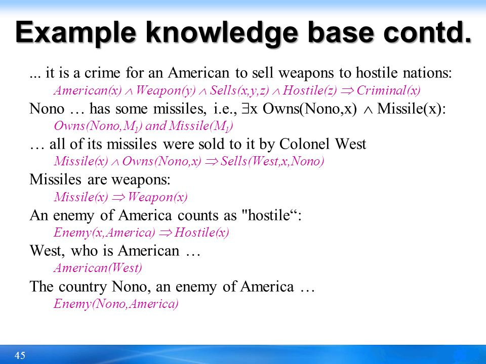 Example knowledge base contd.