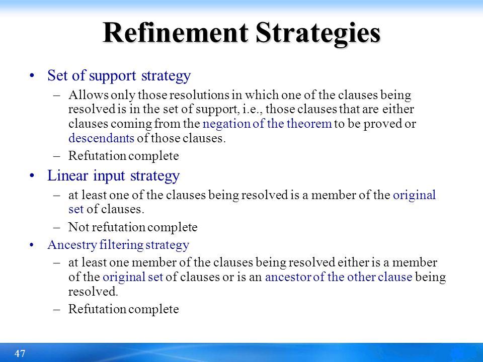 Refinement Strategies