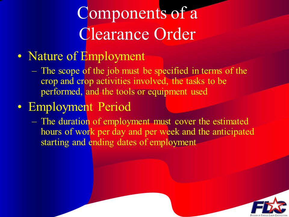 Components of a Clearance Order