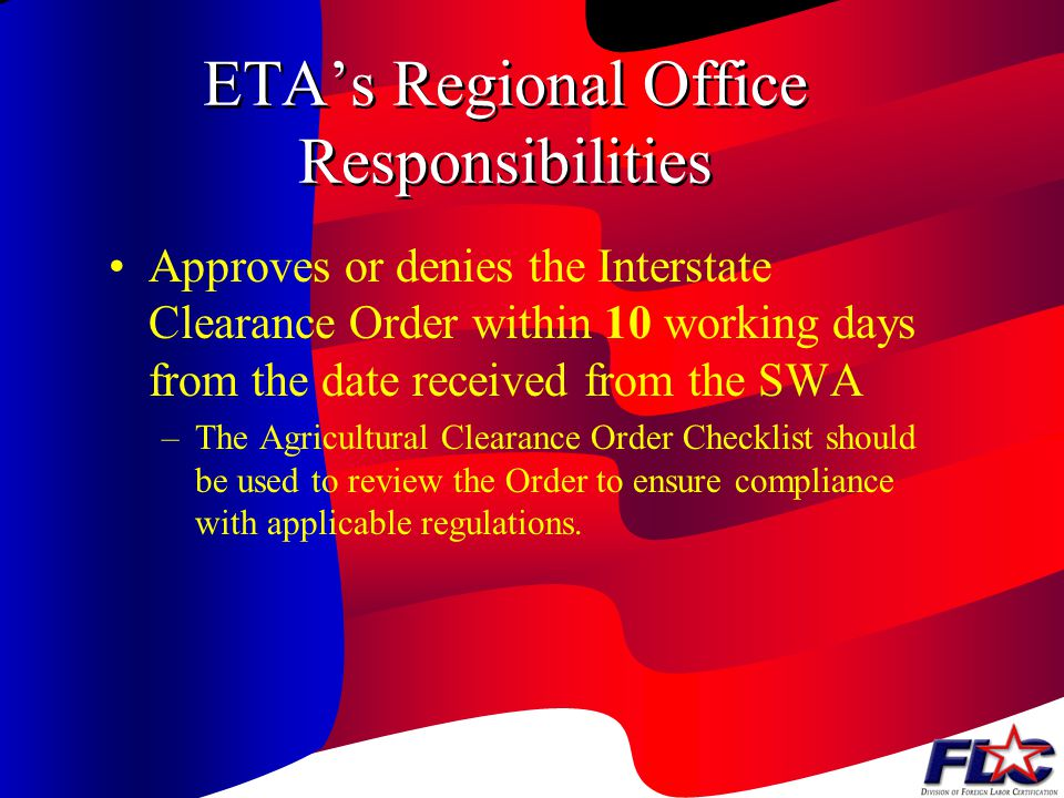 ETA's Regional Office Responsibilities