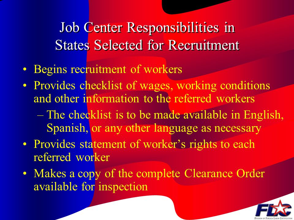 Job Center Responsibilities in States Selected for Recruitment