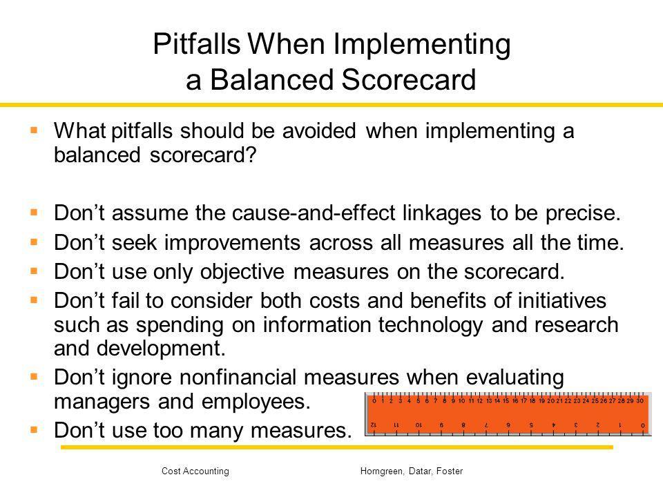 Pitfalls When Implementing a Balanced Scorecard
