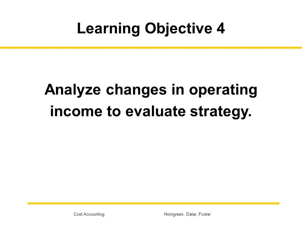 Analyze changes in operating income to evaluate strategy.