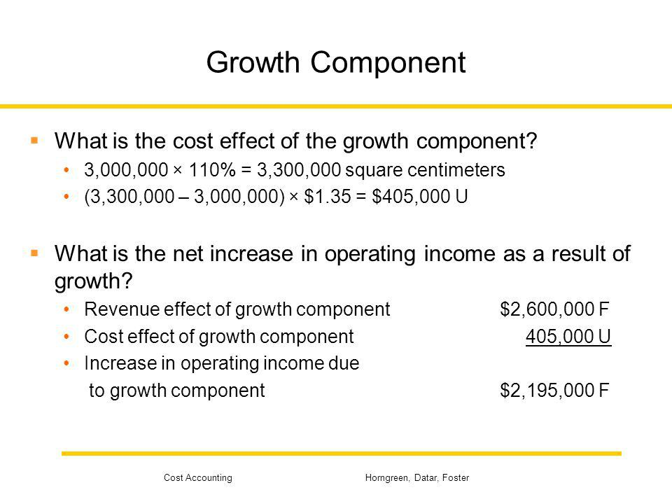 Growth Component What is the cost effect of the growth component