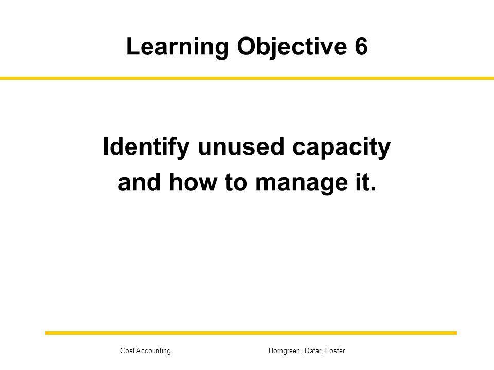 Identify unused capacity