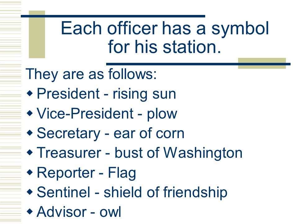 Each officer has a symbol for his station.