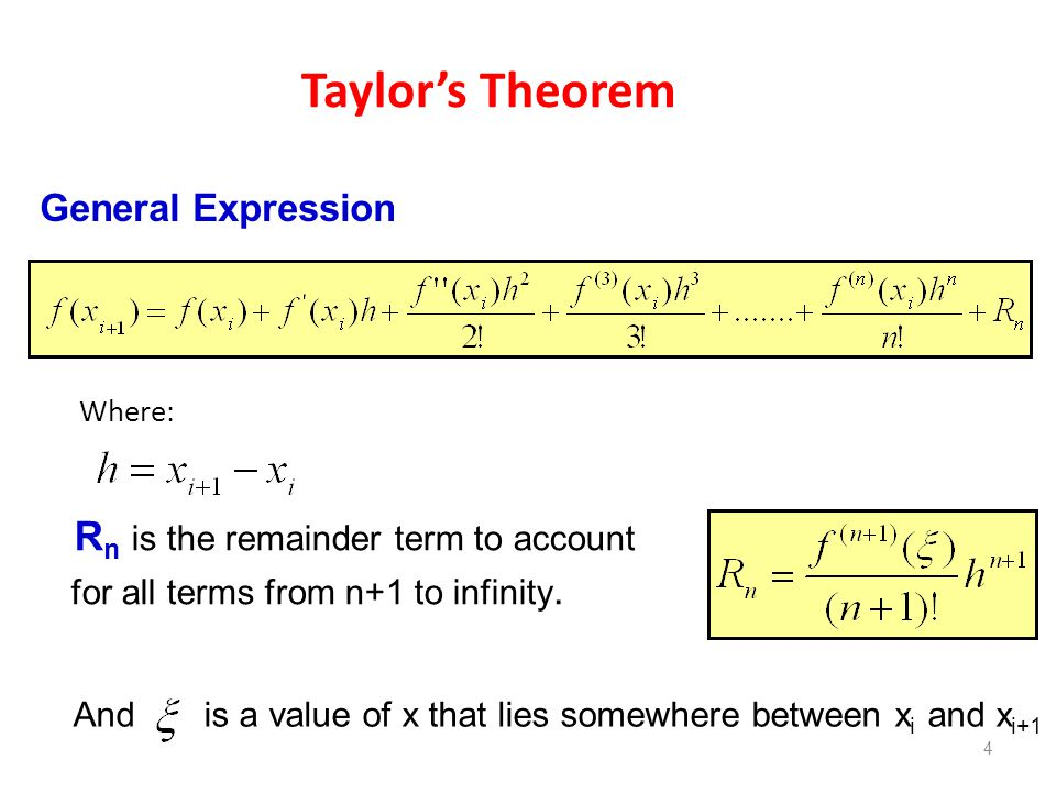 Taylor's Theorem General Expression
