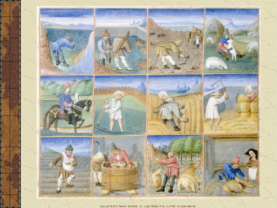 In this image of rustic labors, peasants clear ground, mow fields, plant seed, harvest grain, shear sheep, stomp grapes, and slaughter hogs, among other chores, while the lord of the manor hunts with his falcon in the fields as they work.