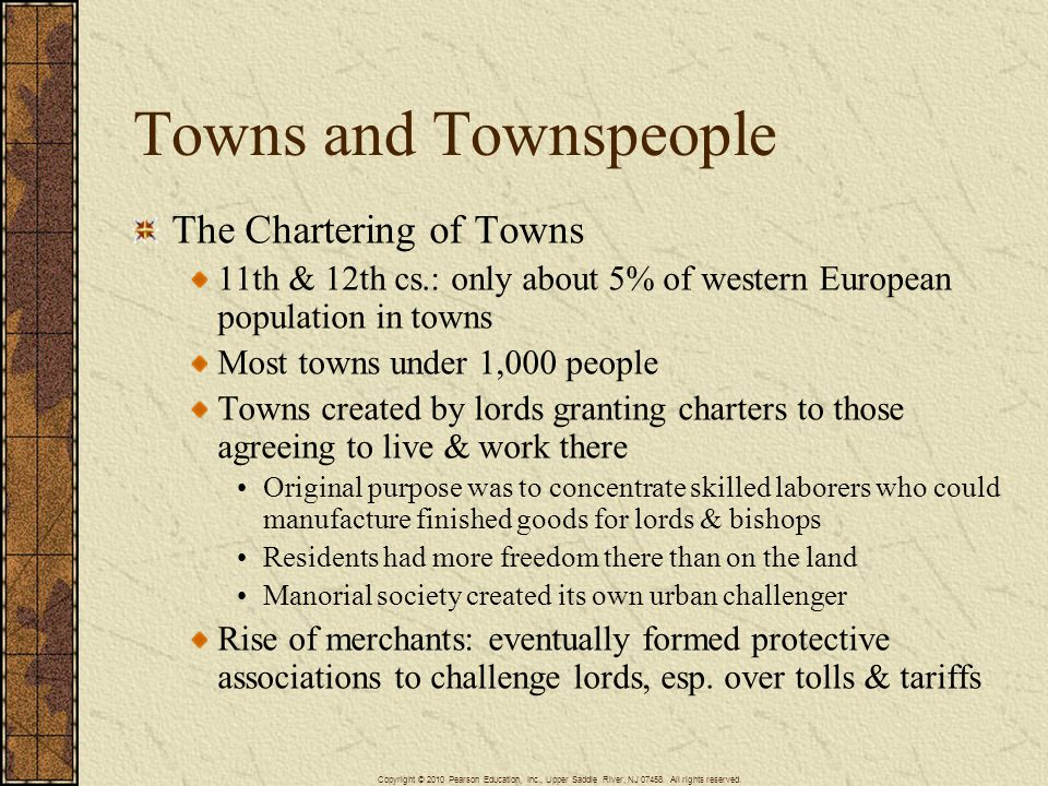 Towns and Townspeople The Chartering of Towns