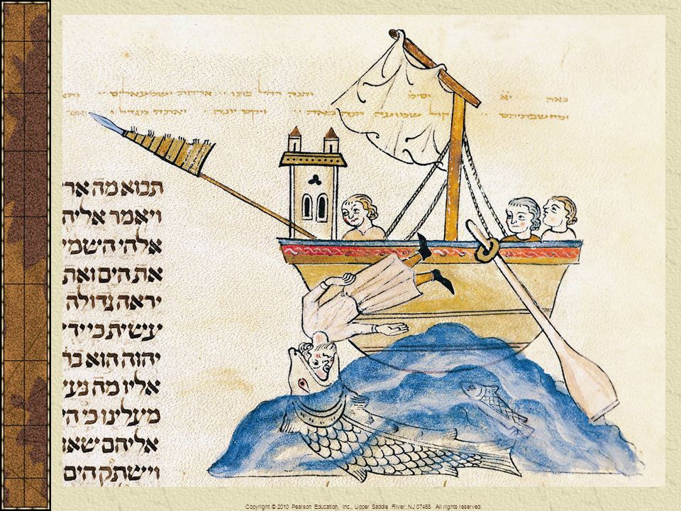 Jonah is swallowed by a great fish in a scene from a thirteenth-century Hebrew Torah from Portugal, an example of the rich Jewish heritage of medieval Iberia.