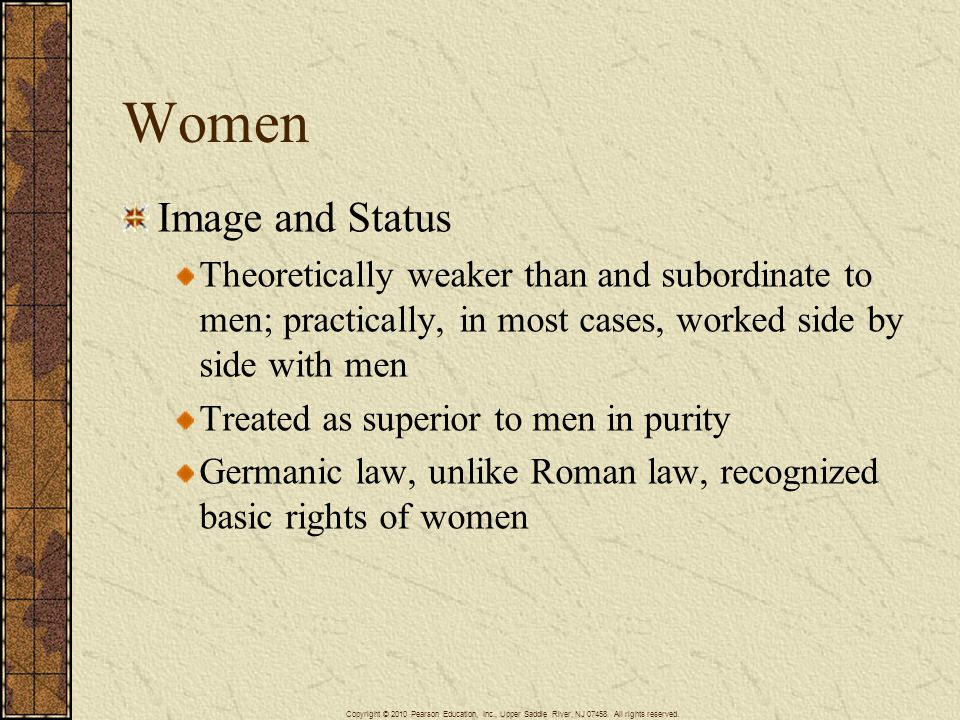 Women Image and Status. Theoretically weaker than and subordinate to men; practically, in most cases, worked side by side with men.