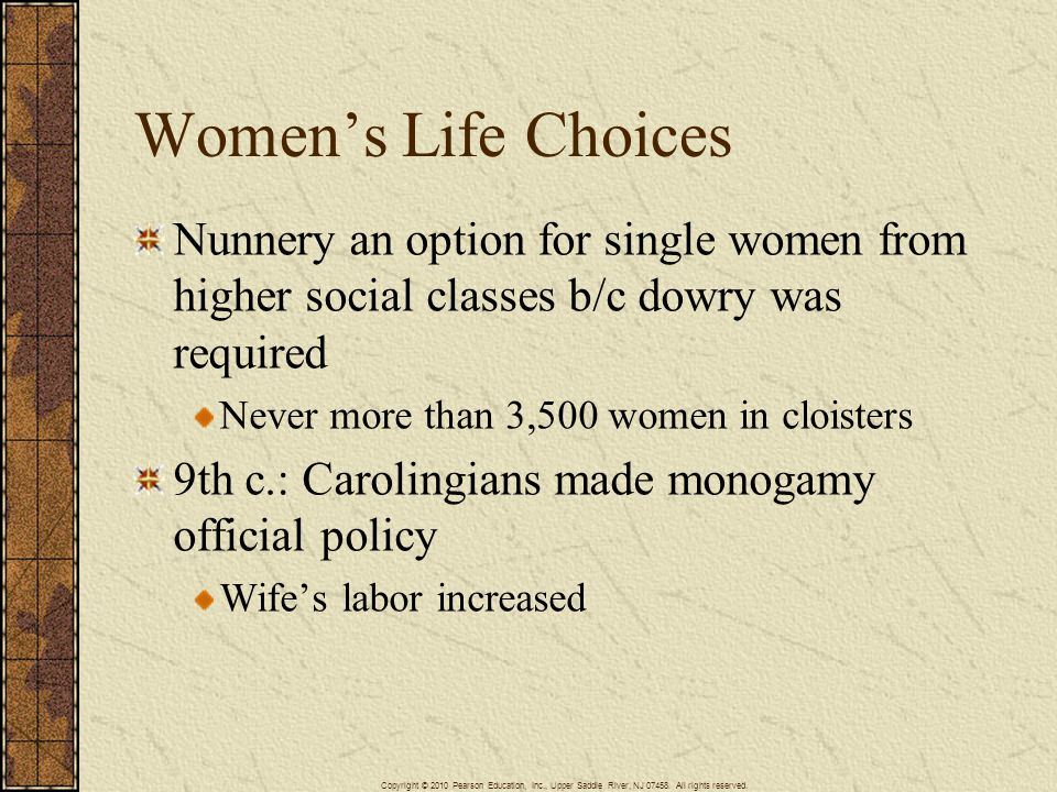 Women's Life Choices Nunnery an option for single women from higher social classes b/c dowry was required.