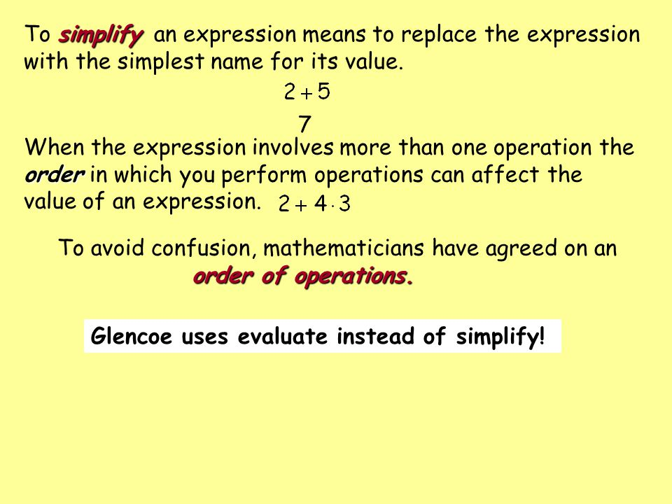 To simplify an expression means to replace the expression with the simplest name for its value.