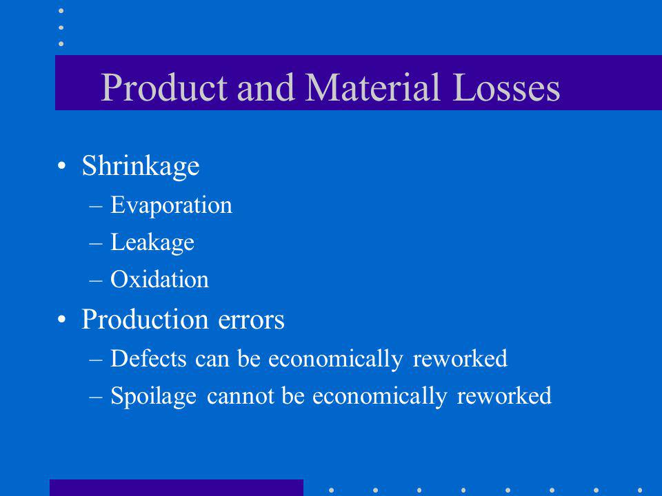 Product and Material Losses