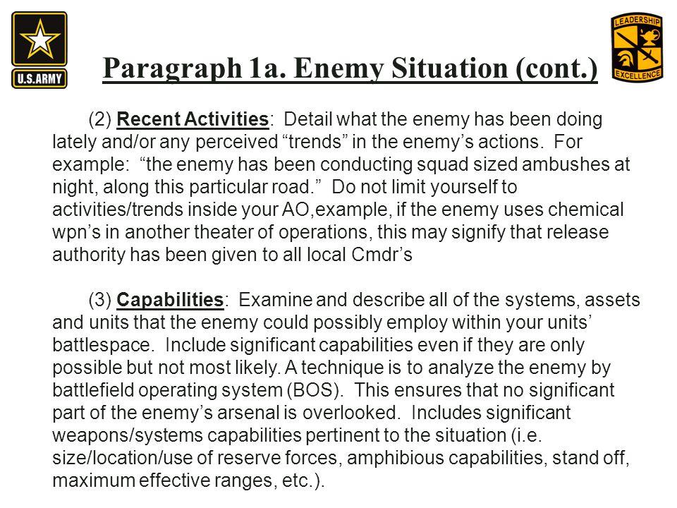 Paragraph 1a. Enemy Situation (cont.)