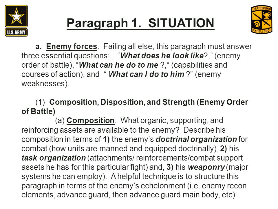 (1) Composition, Disposition, and Strength (Enemy Order of Battle)