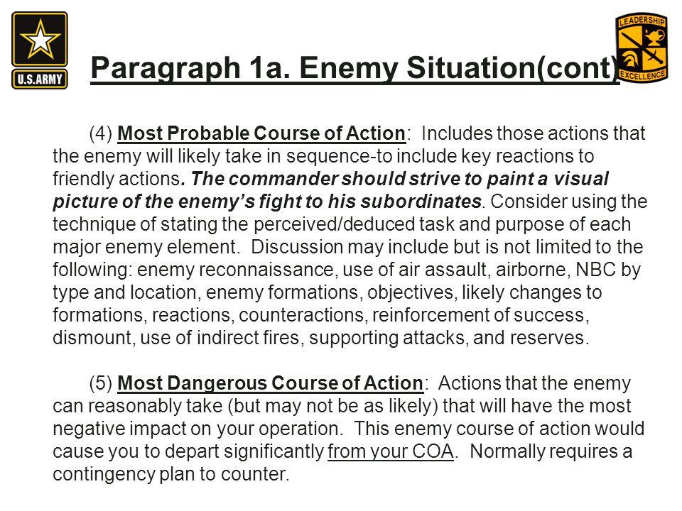 Paragraph 1a. Enemy Situation(cont)
