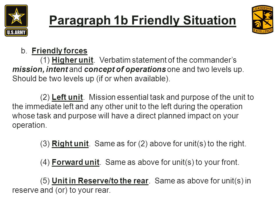 Paragraph 1b Friendly Situation