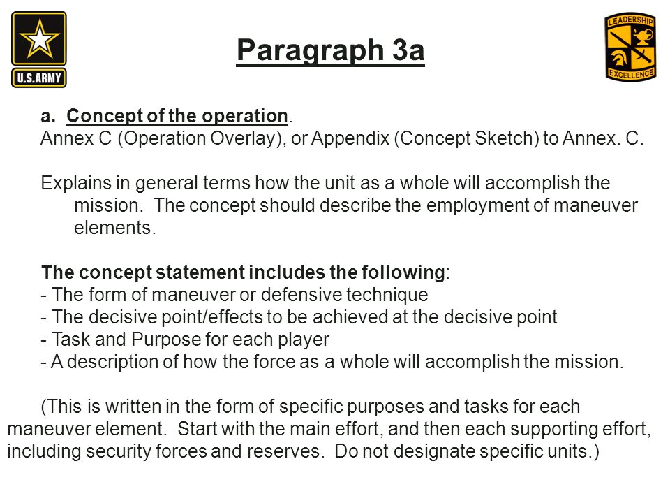 Paragraph 3a a. Concept of the operation.