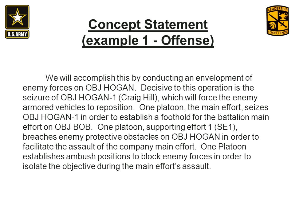 Concept Statement (example 1 - Offense)