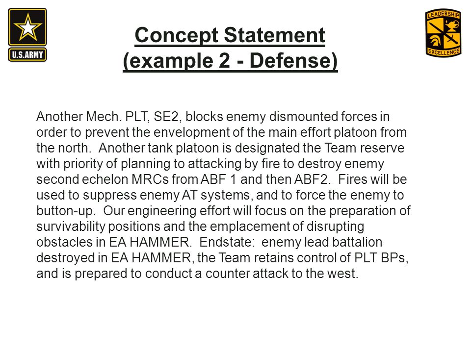 Concept Statement (example 2 - Defense)
