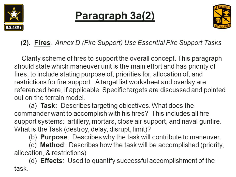 (2). Fires. Annex D (Fire Support) Use Essential Fire Support Tasks