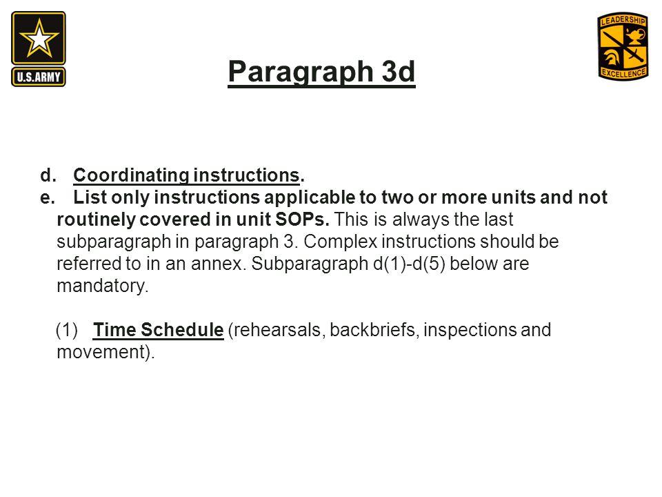 Paragraph 3d Coordinating instructions.