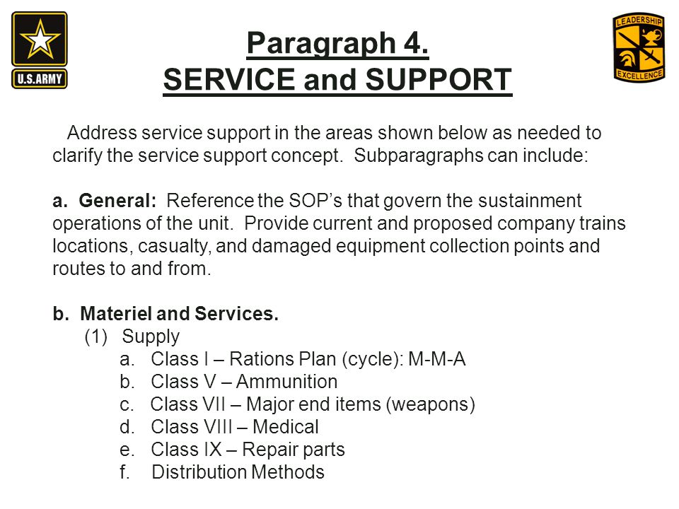 Paragraph 4. SERVICE and SUPPORT
