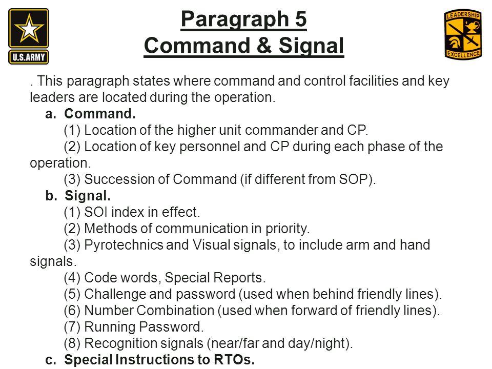 Paragraph 5 Command & Signal