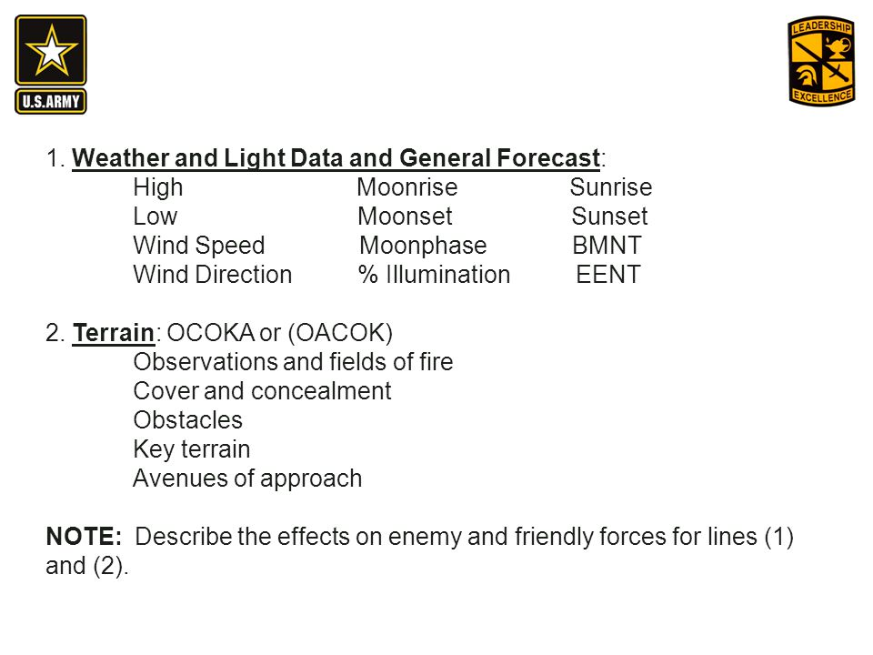 1. Weather and Light Data and General Forecast: