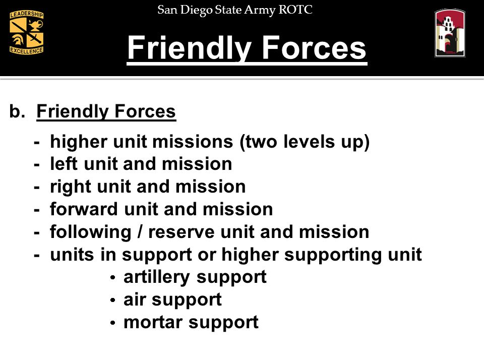 Friendly Forces b. Friendly Forces